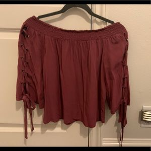 Maroon off the shoulder top with tie up sleeves